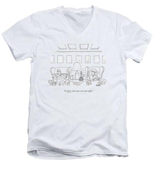 A Man Sits In A Living Room Men's V-Neck T-Shirt