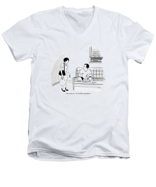 A Man Sits Pouring Syrup Over A Stack Of Pancakes Men's V-Neck T-Shirt