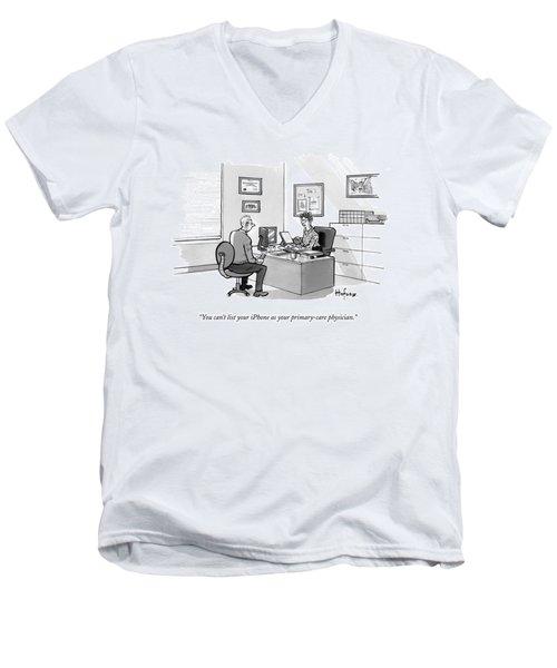 A Man Speaks To A Receptionist Men's V-Neck T-Shirt