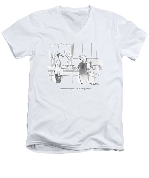A Man Speaks To A Woman In A Kitchen Men's V-Neck T-Shirt