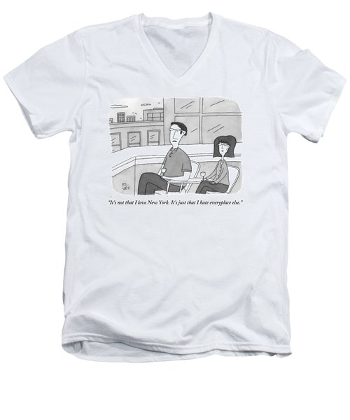 A Man Speaks To A Woman On A Balcony In The City Men's V-Neck T-Shirt