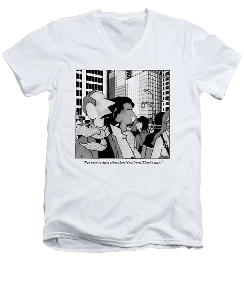 A Man Speaks To His Wife In The Midst Of New York Men's V-Neck T-Shirt