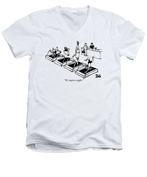 A Man Stands At The Desk Of A Gym. Four People Men's V-Neck T-Shirt