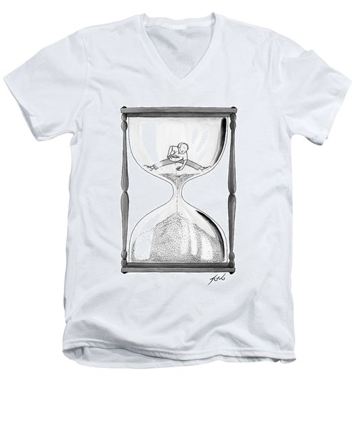 A Man Stands In The Top Half Of An Hourglass Men's V-Neck T-Shirt