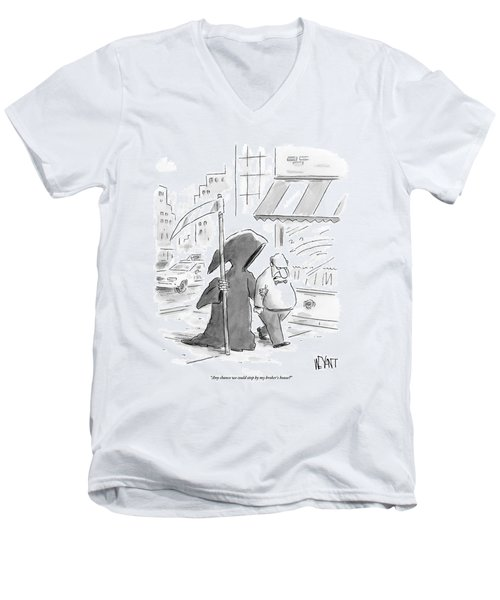 A Man Walks Down The Street With The Grim Reaper Men's V-Neck T-Shirt