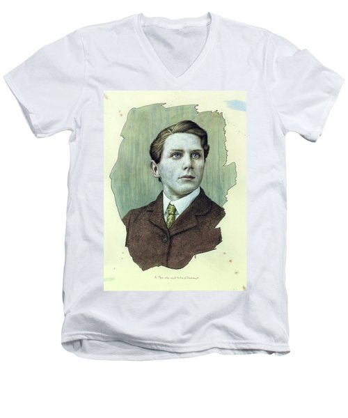 Men's V-Neck T-Shirt featuring the painting A Man Who Used To Be A Dreamer by James W Johnson