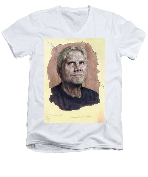 Men's V-Neck T-Shirt featuring the painting A Man Who Used To Be A Serious Artist by James W Johnson