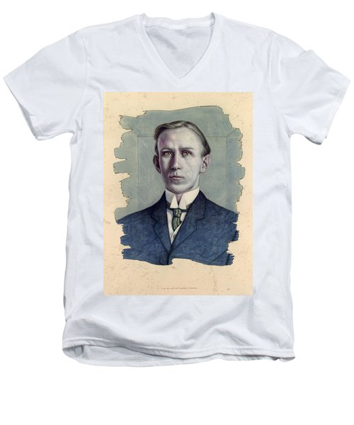 Men's V-Neck T-Shirt featuring the painting A Man Who Used To Be Somebody To Someone by James W Johnson