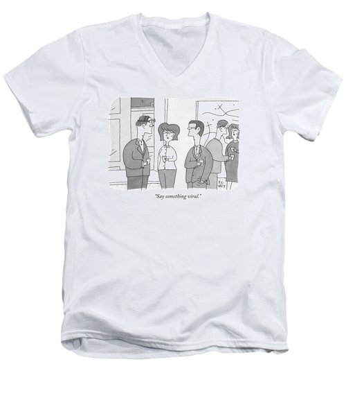 A Man With A Camera On His Head Speaks To Two Men's V-Neck T-Shirt