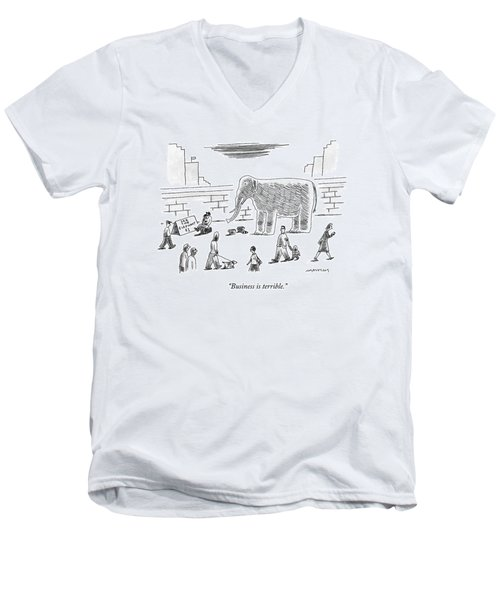 A Man With An Elephant Speaks On The Phone Men's V-Neck T-Shirt