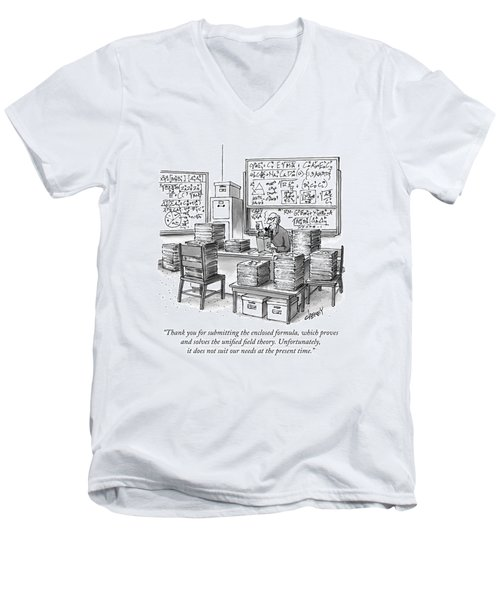 A Mathematician In A Room Full Of Stacked Papers Men's V-Neck T-Shirt