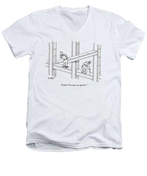 A Men Works On The Sky Scraper  Beams Men's V-Neck T-Shirt by Robert Leighton