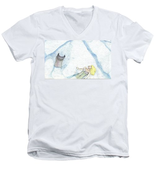 Men's V-Neck T-Shirt featuring the drawing A Mermaids Moment by Kim Pate