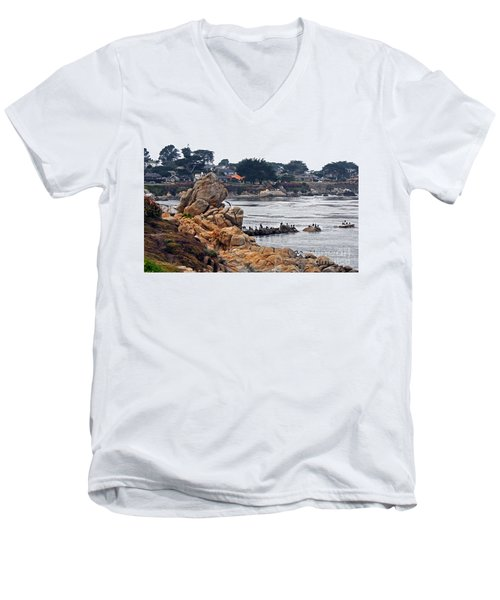 Men's V-Neck T-Shirt featuring the photograph A Misty Day At Pacific Grove by Susan Wiedmann