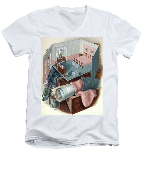 A Model Of A Bedroom On Top Of A Set Of Drawers Men's V-Neck T-Shirt