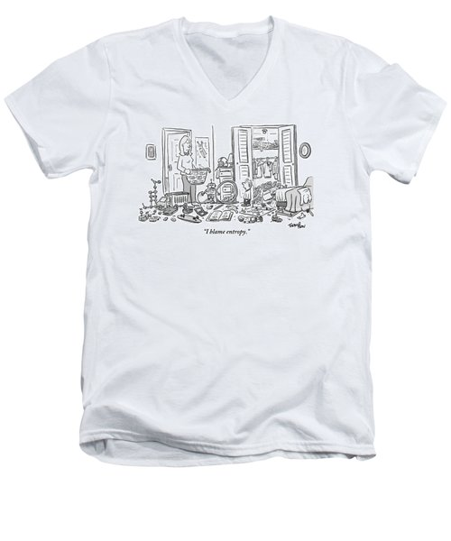 A Mother Stands Angrily In The Doorway Men's V-Neck T-Shirt