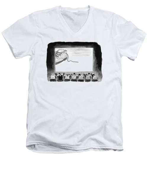 A Movie Theater Audience Of All Cats Watches Men's V-Neck T-Shirt
