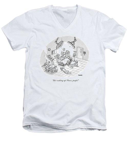 A Patient Sleeps In A Hospital Room Men's V-Neck T-Shirt