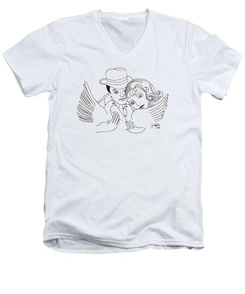 A Peaceful Gathering Men's V-Neck T-Shirt by John Keaton