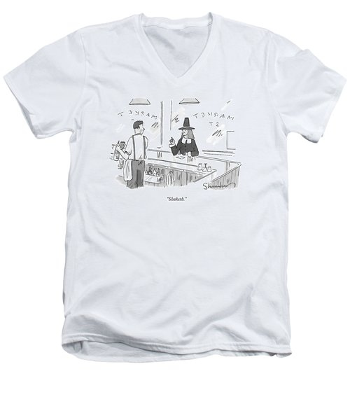 A Pilgrim In A Bar Speaks To The Bartender Men's V-Neck T-Shirt