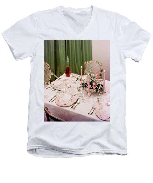 A Pink Table Setting Men's V-Neck T-Shirt