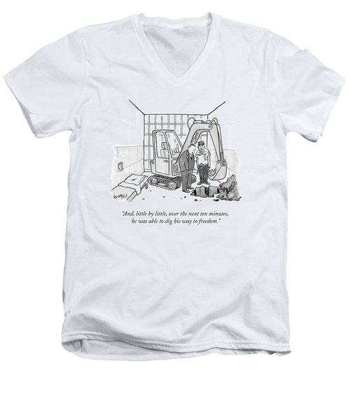 A Policeman Speaks To A Detective In A Jail Cell Men's V-Neck T-Shirt