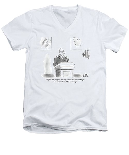 A Politician Speaks At A Podium Men's V-Neck T-Shirt
