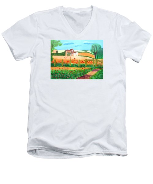 Men's V-Neck T-Shirt featuring the painting A Poppy Field by Magdalena Frohnsdorff