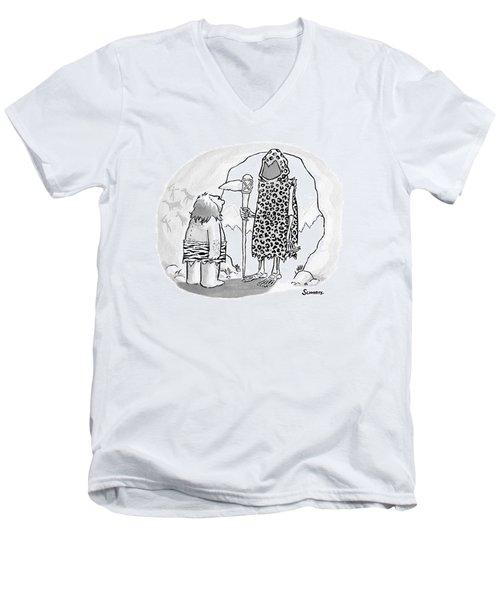 A Prehistoric Grim Reaper Wearing Animal Print Men's V-Neck T-Shirt