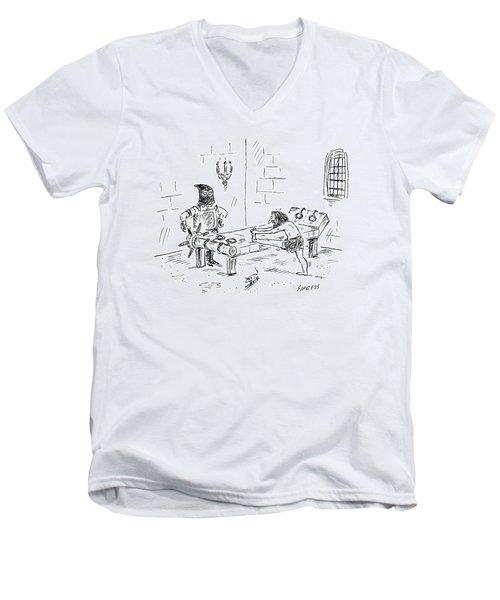 A Prisoner Is Seen Stretching On A Torture Rack Men's V-Neck T-Shirt
