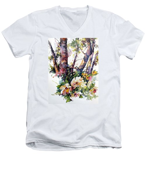 Men's V-Neck T-Shirt featuring the painting A Quiet Place by Rae Andrews