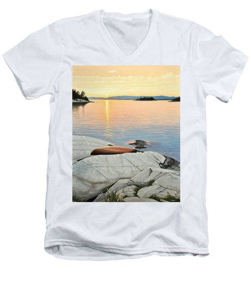 Men's V-Neck T-Shirt featuring the painting A Quiet Time by Kenneth M  Kirsch