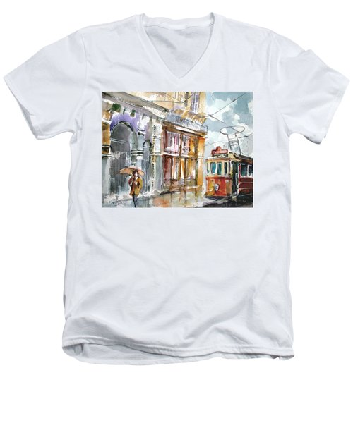 Men's V-Neck T-Shirt featuring the painting A Rainy Day In Istanbul by Faruk Koksal