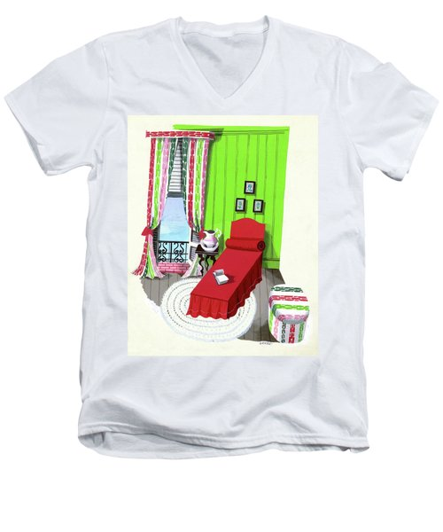 A Red Bed In A Bedroom Men's V-Neck T-Shirt
