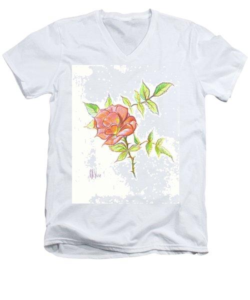 A Rose In Brigadoon Men's V-Neck T-Shirt by Kip DeVore