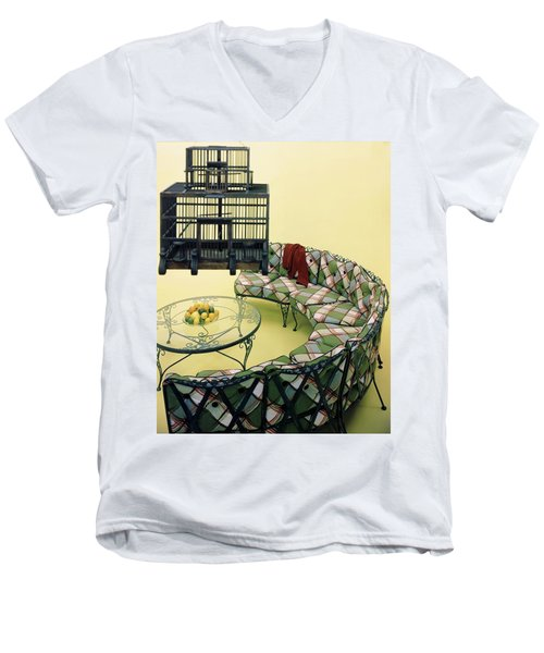 A Round Couch And A Birdcage Men's V-Neck T-Shirt