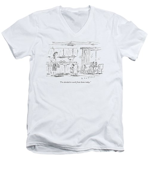 A Schoolboy Speaks To His Mother In The Kitchen Men's V-Neck T-Shirt