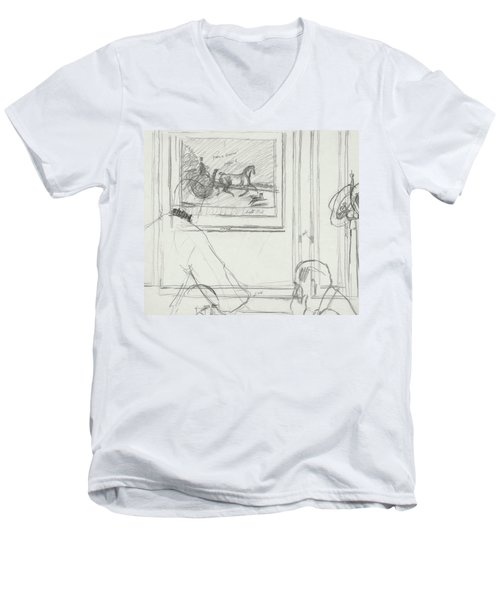 A Sketch Of A Horse Painting At A Bar Men's V-Neck T-Shirt