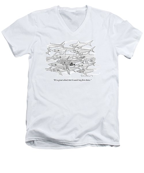 A Smaller Fish Is Talking To Other Larger Fish Men's V-Neck T-Shirt