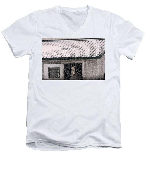 A Snowfall At The Stable Men's V-Neck T-Shirt by Bruce Patrick Smith