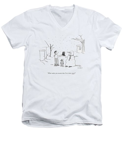 A Snowman Confronts A Mother Men's V-Neck T-Shirt