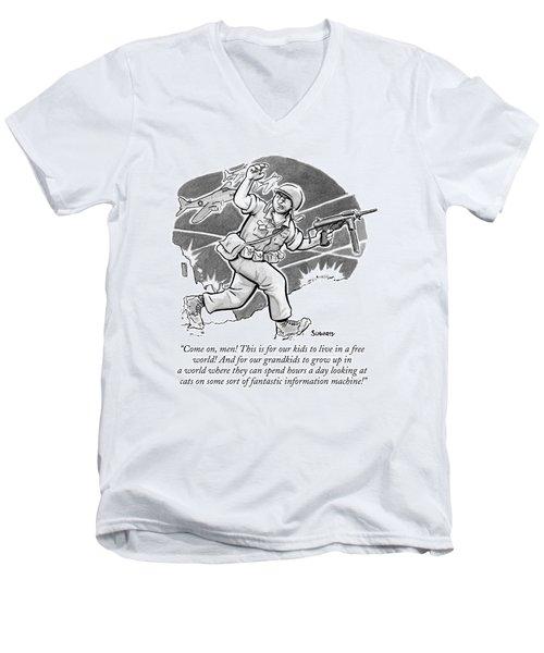 A Soldier Holding A Gun Runs Through Battle Men's V-Neck T-Shirt