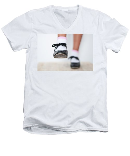 Old Tap Dance Shoes From Dance Academy - A Step Forward Tap Dance Men's V-Neck T-Shirt by Pedro Cardona