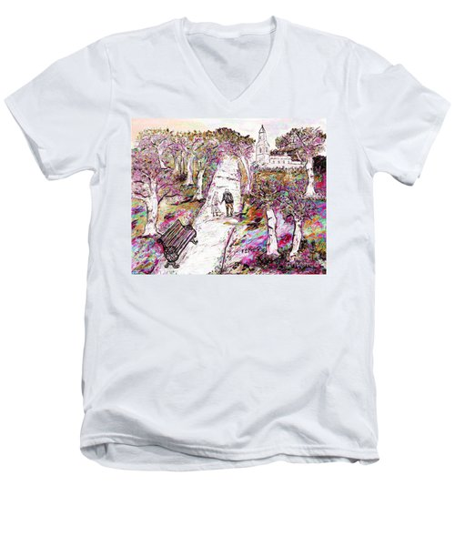 A Stroll In Autumn Men's V-Neck T-Shirt by Loredana Messina