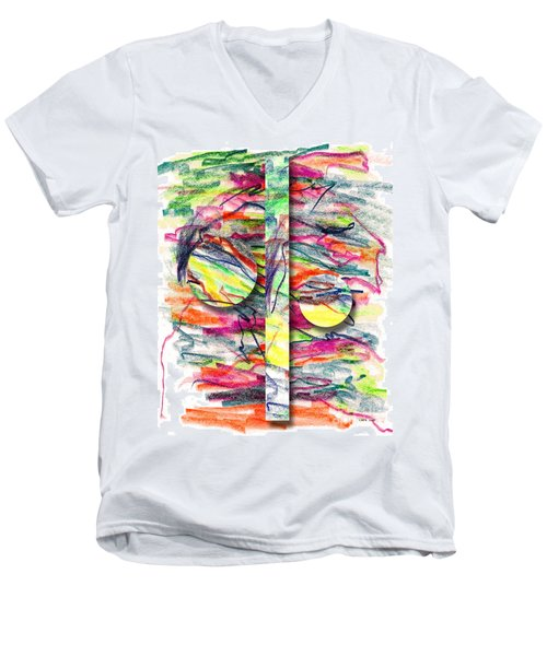 Men's V-Neck T-Shirt featuring the drawing A Summers Day Breeze by Peter Piatt