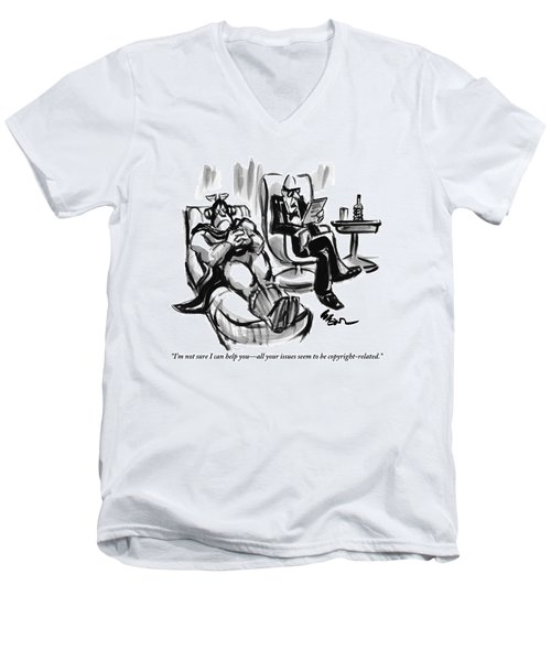 A Superhero Lays In A Chair Talking Men's V-Neck T-Shirt