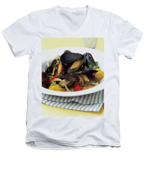 A Thai Dish Of Mussels And Papaya Men's V-Neck T-Shirt