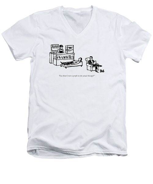 A Therapist's Office With A Concession Stand Men's V-Neck T-Shirt