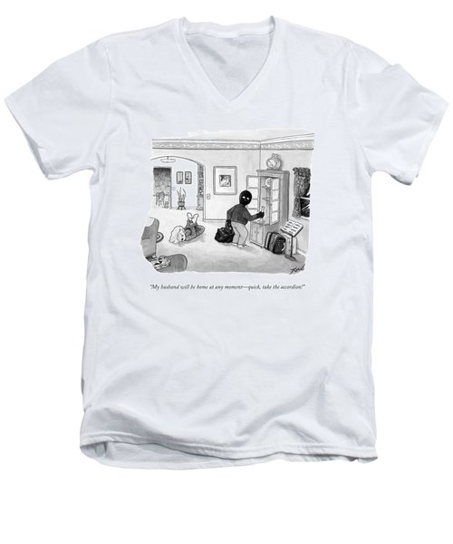 A Tied-up Woman Says To A Burglar Men's V-Neck T-Shirt