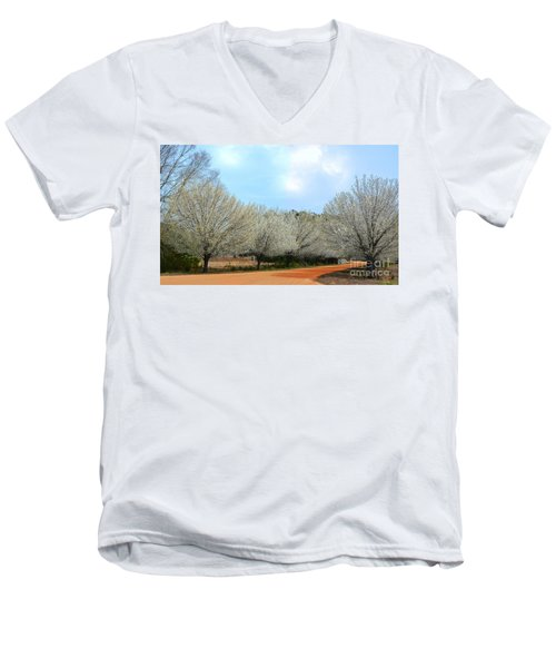 Men's V-Neck T-Shirt featuring the photograph A Touch Of Spring by Kathy Baccari